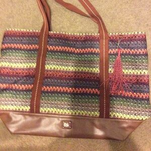 NWT The Sak Hand Crochet Print Multicolor L Tote